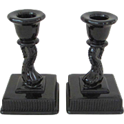 Imperial Glass Jet Black Dolphin Candlesticks