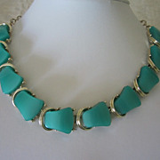 REDUCED Vintage Seafoam Green Lucite Choker Necklace ~ REDUCED!!