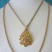 REDUCED Vintage Crown Trifari Modernist Pendant with Double Chain ~ 1/2 OFF!
