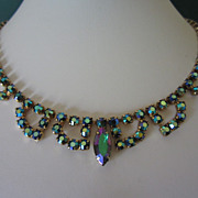REDUCED Vintage Emerald Aurora Borealis Rhinestone Choker Necklace ~ REDUCED!