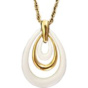 REDUCED Trifari Triple Teardrop White Lucite Pendant Necklace ~ REDUCED!