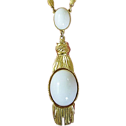 REDUCED Vintage White Cabochons with Faux Tassels in Gold Tone Necklace ~ REDUCED!