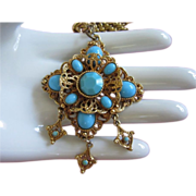 REDUCED Ornate Vintage Turquoise Glass Necklace with Danglers ~ REDUCED!!