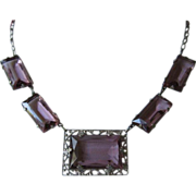 REDUCED REDUCED! ~ Delicate Amethyst Rhinestone Choker Style Necklace ~ FREE SHIP!