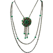 Unique JAPAN Green Glass Beads Three Strand Necklace