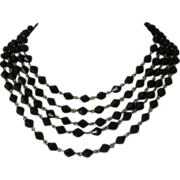 Vintage Black Glass 5 Strand Necklace