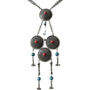 Faux Turquoise and Carnelian Dangling Statement Necklace