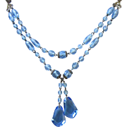 Very Vintage Czech Blue Crystals and Brass Glass Lavaliere Necklace