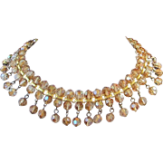 SALE Stunning Amber Aurora Borealis Crystals Choker or Collar Style Necklace