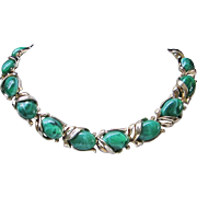 SALE Trifari Marbled Malachite Green Lucite Necklace