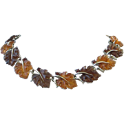 SALE Iconic Lisner Rootbeer and Topaz Lucite Maple Leaf Necklace