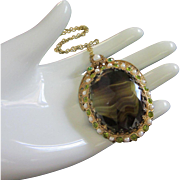 West Germany Dark Green and Topaz Art Glass, Peridot and Faux Pearl Pendant Necklace