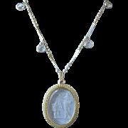 Unsigned Goldette Intaglio Cupid and Venus Pendant Necklace