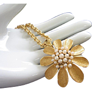 SALE Trifari Golden Flower Pendant Necklace with Faux Pearls