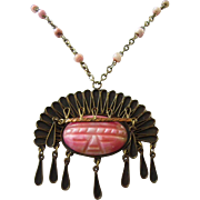 SALE Impressive Carved Pink Agate and Copper Mexican Warrior Pendant Necklace
