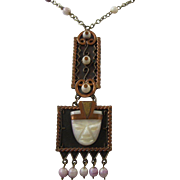 SALE Vintage Mexico Carved Lavender Agate and Copper Warrior Pendant Necklace