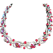 REDUCED 1/2 OFF! Lisner Red AB and Rhinestone Choker Necklace