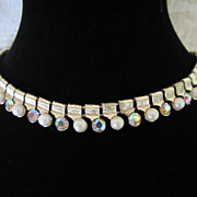 Vintage Coro Faux Pearl and Rhinestone Choker Necklace