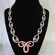 REDUCED Vintage Pink Enamel and Gold Tone Necklace ~ 50% OFF