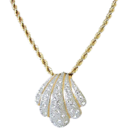 Striking Gold and Silver Tone Seashell Necklace with Brilliant Rhinestones