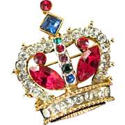 SALE Petite Multi Colored Rhinestone Crown Pin