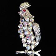 REDUCED Vintage Rhinestone Bird Figural Brooch Pin; Cockatoo Signed BSK ~ 50% OFF!