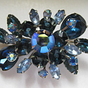 REDUCED 1/2 OFF!  Vintage Beautiful Blues and AB Rhinestone Brooch Pin