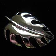 REDUCED Vintage Trifari  Silver Tone Leaf Figural Brooch Pin ~ 1/2 OFF!