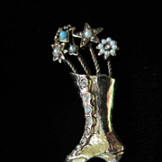 REDUCED Vintage Rhinestone and Faux Pearl Lace Up Boot Figural Brooch Pin