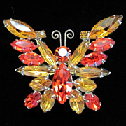REDUCED DRASTIC REDUCTION ~ Vintage Hyacinth Orange and Topaz Rhinestone Butterfly Pin Brooch