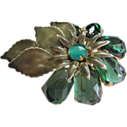 REDUCED 1/2 OFF!  Vintage Enamel and Molded Glass Flower Pin Brooch