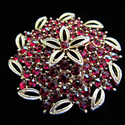 Vintage Lisner Red Rhinestone Pin Brooch