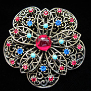 Vintage Glass Cab and Rhinestone Flower Pin Brooch