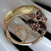 Vintage ART Amethyst Rhinestone Flower Circle Pin Brooch