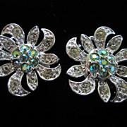 Vintage Sarah Coventry Rhinestone Flower Earrings