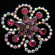 REDUCED Fabulous Vintage Made In Austria Rhinestone Flower Pin Brooch ~ REDUCED!