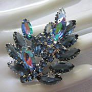 SALE Vintage Unfoiled Rhinestone Torch Pin Brooch
