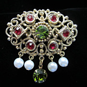 Vintage Ruby & Olivine Rhinestones with Dangling Faux Pearls Pin Brooch