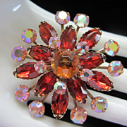 Vintage Sun, Siam, and AB Rhinestone Brooch Pin