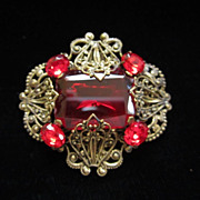 Vintage Ruby Red Rhinestones and Brass Pin Brooch