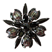 REDUCED Vintage Large Jet Black Rhinestone and Hematite Brooch Pin