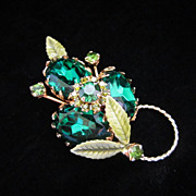 Vintage Emerald Green Rhinestones and Enamel Floral Pin Brooch