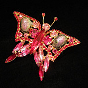 REDUCED Sparkling Fuchsia and Garnet Rhinestone Butterfly Figural Pin Brooch ~ REDUCED!!!