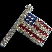 Sparkling Patriotic Rhinestone Flag Pin Brooch