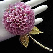 REDUCED Dimensional Lilac Mum with AB Rhinestones Flower Pin Brooch ~ REDUCED!