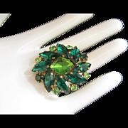 REDUCED Austrian Emerald & Peridot Green Rhinestone Brooch Pin ~ REDUCED!