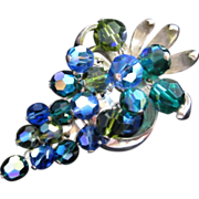 Cascading Grapes of Blue, Green, and Olivine AB Crystals Pin Brooch