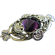 Large Victorian Style Pin Brooch with Amazing Amethyst  Rhinestone