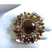 Brilliant Juliana Layered Topaz and AB Rhinestone Brooch Pin