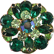 Vintage Emerald Green and Peridot Rhinestone Brooch Pin